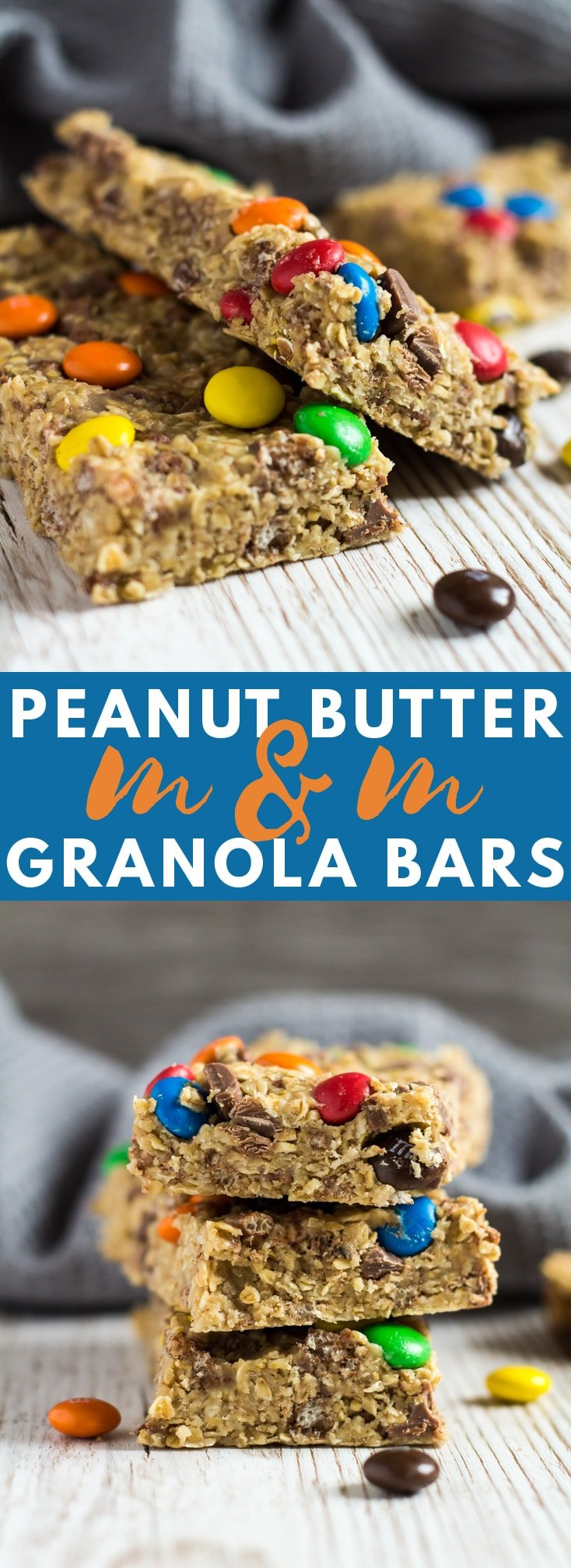 No-Bake Peanut Butter M&M Granola Bars - Deliciously thick and chewy granola bars loaded with peanut butter flavour, and stuffed full of chocolate chips and M&MS!