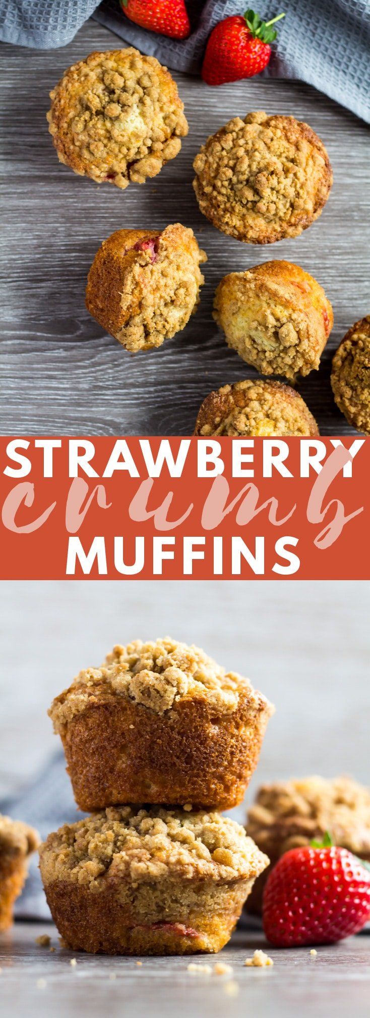 Strawberry Crumb Muffins - Deliciously moist and fluffy vanilla-infused muffins loaded with fresh strawberries, and topped with a buttery cinnamon streusel!