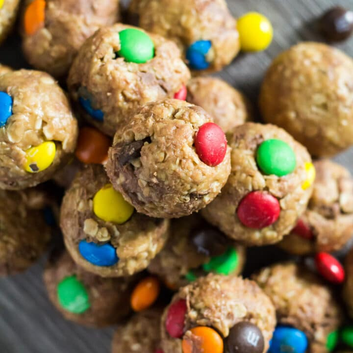 An overhead image of No-Bake Monster Cookie Bites scattered in a pile.
