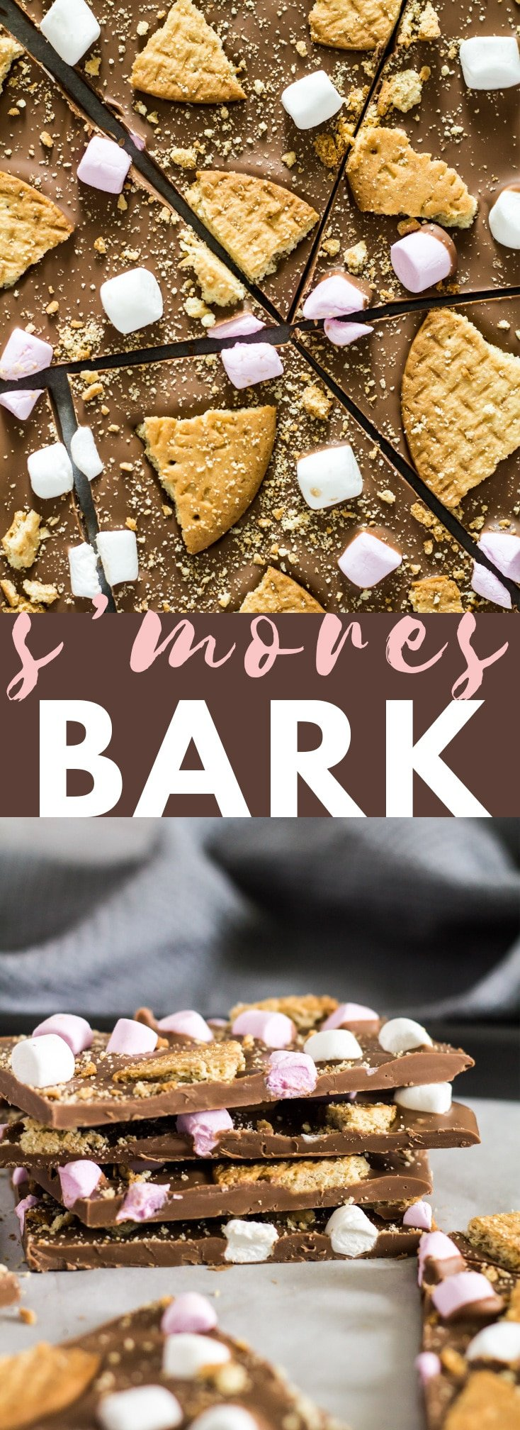S'mores Chocolate Bark - A deliciously thick and creamy layer of milk chocolate that is generously topped with broken biscuits, and mini marshmallows! #chocolate #smores #nobake #recipe