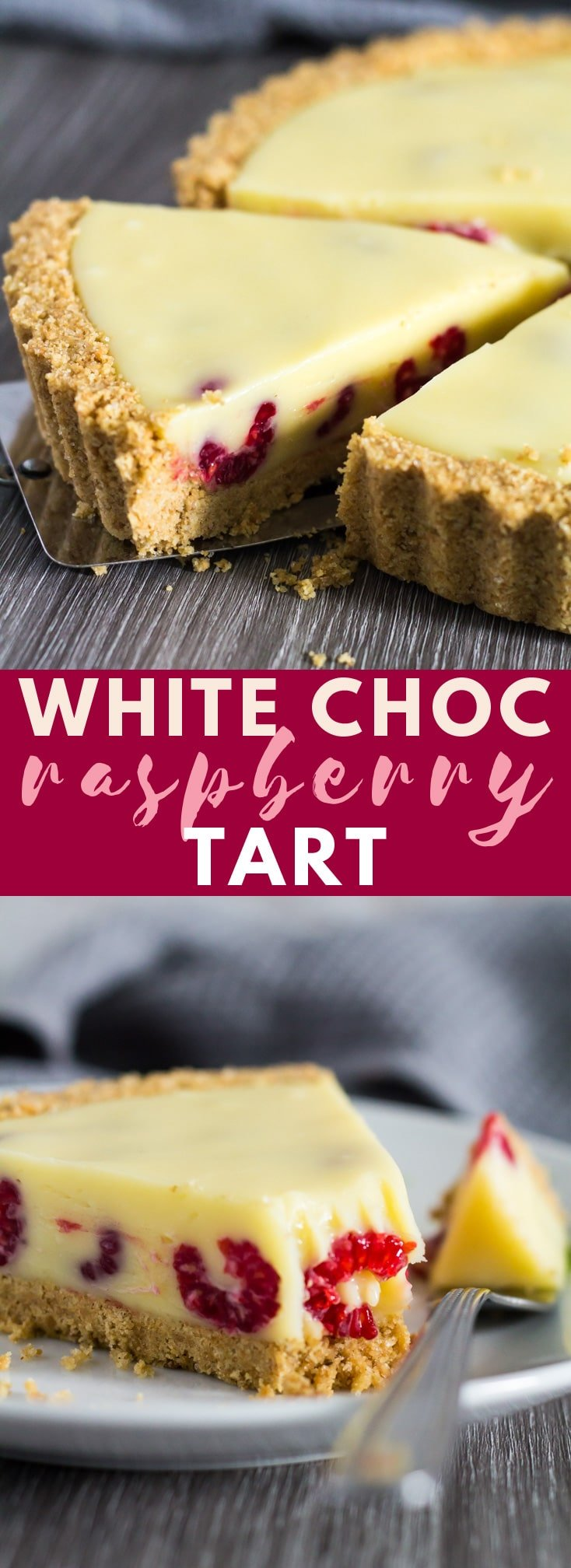 White Chocolate Raspberry Tart - A deliciously rich and creamy no-bake white chocolate tart recipe that is stuffed full of fresh raspberries, and has a sweet digestive biscuit crust!