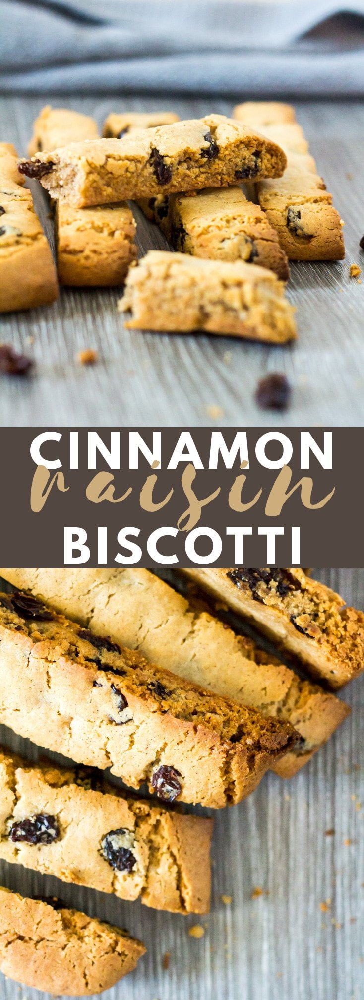 Cinnamon Raisin Biscotti - These deliciously crunchy cinnamon-spiced Biscotti are loaded with raisins, and perfectly shaped for dunking in tea or coffee! #biscotti #cookies #recipe