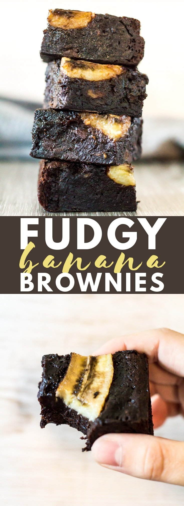 Fudgy Banana Brownies - These brownies are incredibly thick, fudgy, and loaded with banana flavour. Banana lovers will LOVE these! #banana #brownies #chocolate #recipe