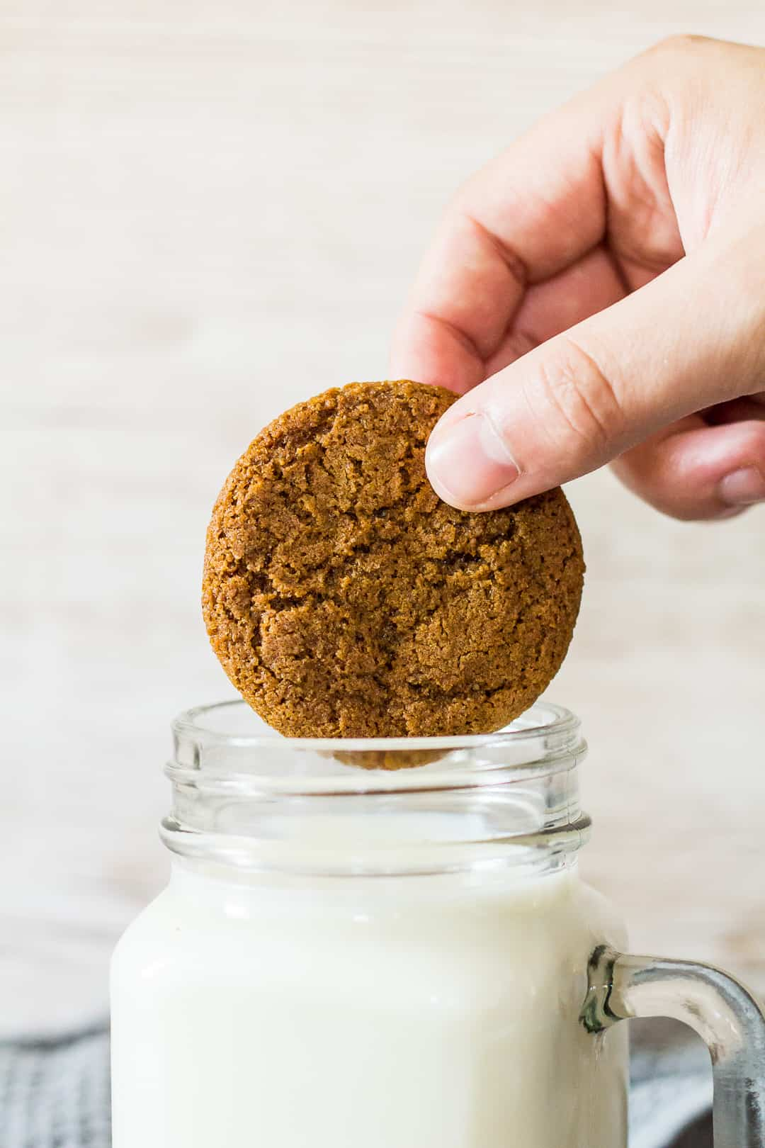 A Homemade Gingernut Cookie being dunked into a glass of milk.