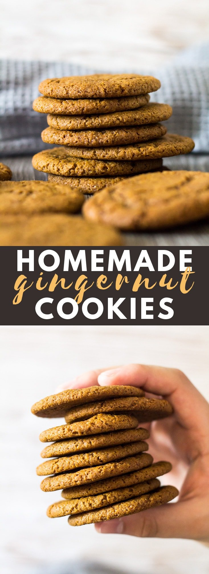 Homemade Gingernut Cookies - Deliciously crunchy and chewy ginger-spiced cookies that are better than store-bought. Perfect for dunking in tea or coffee! #gingercookies #cookierecipe #cookies #recipe