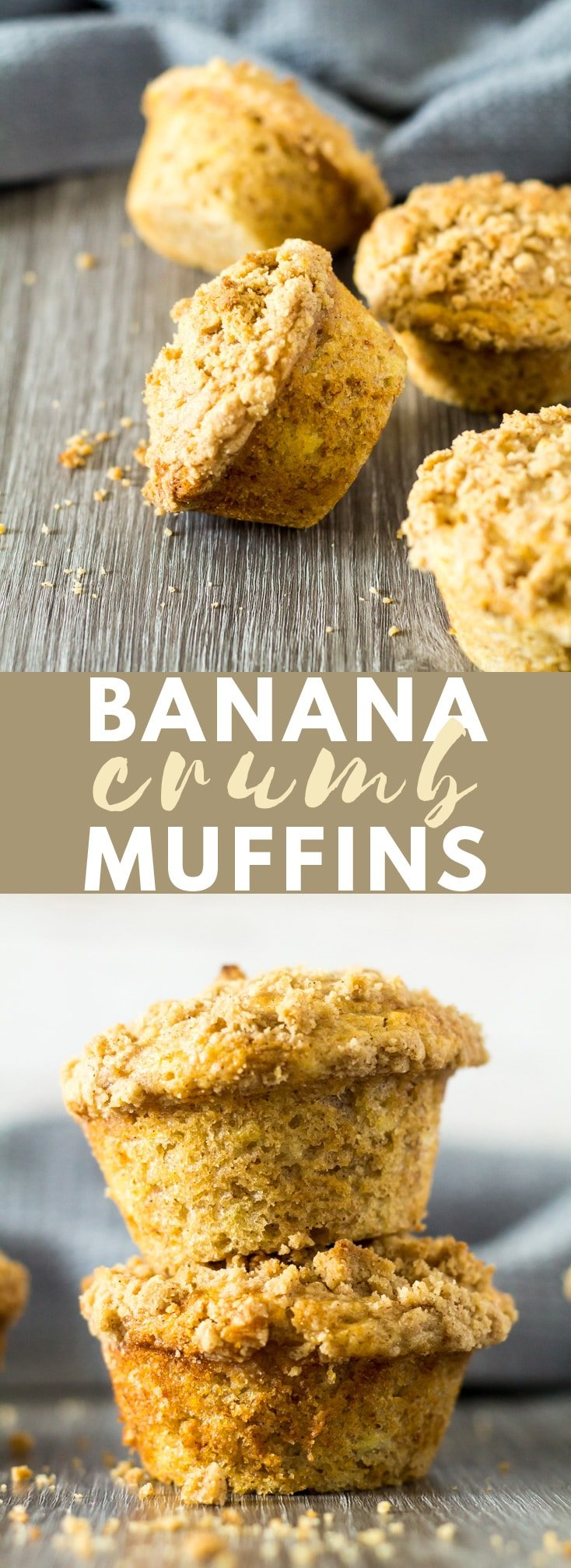 Banana Crumb Muffins - Deliciously moist and fluffy cinnamon-spiced muffins that are loaded with banana flavour, and topped with a buttery crumb. Perfect for an indulgent breakfast or snack! #banana #bananarecipes #muffins #muffinrecipes #recipe