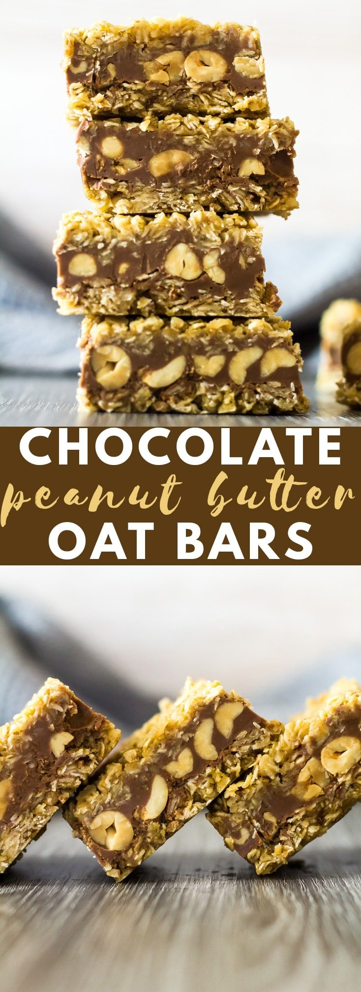 No-Bake Chocolate Peanut Butter Oat Bars - Deliciously creamy and chewy bars that are made up of two oaty layers, and a chocolate layer stuffed full of salted peanuts! #chocolate #peanutbutter #nobake #recipe