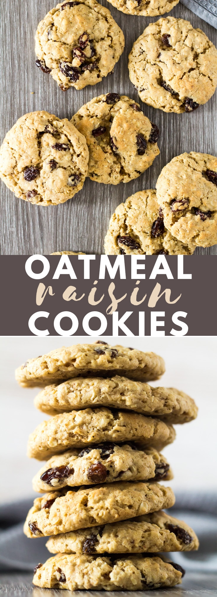 Oatmeal Raisin Cookies - Deliciously thick and chewy oatmeal cookies that are perfectly spiced with cinnamon and nutmeg, and loaded with raisins! #oatmeal #cinnamon #raisin #cookies #cookierecipes