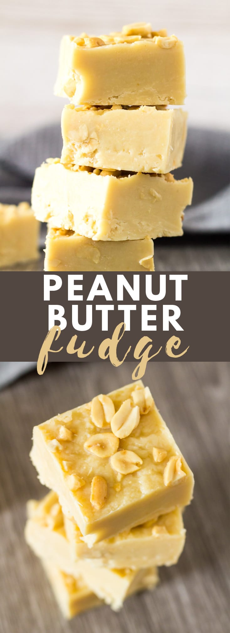 Peanut Butter Fudge - Deliciously creamy white chocolate fudge that is loaded with peanut butter flavour, and peanuts for added crunch. Only 5 simple ingredients! #whitechocolate #peanutbutter #fudge #fudgerecipes #recipe