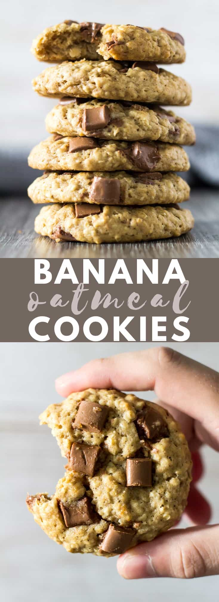 Chocolate Chip Banana Oatmeal Cookies - Delicious thick and chewy oatmeal cookies that are loaded with banana flavour, and studded with chocolate chips! #chocolatechipcookies #banana #oatmeal #cookies #cookierecipes #breakfast #breakfastcookies