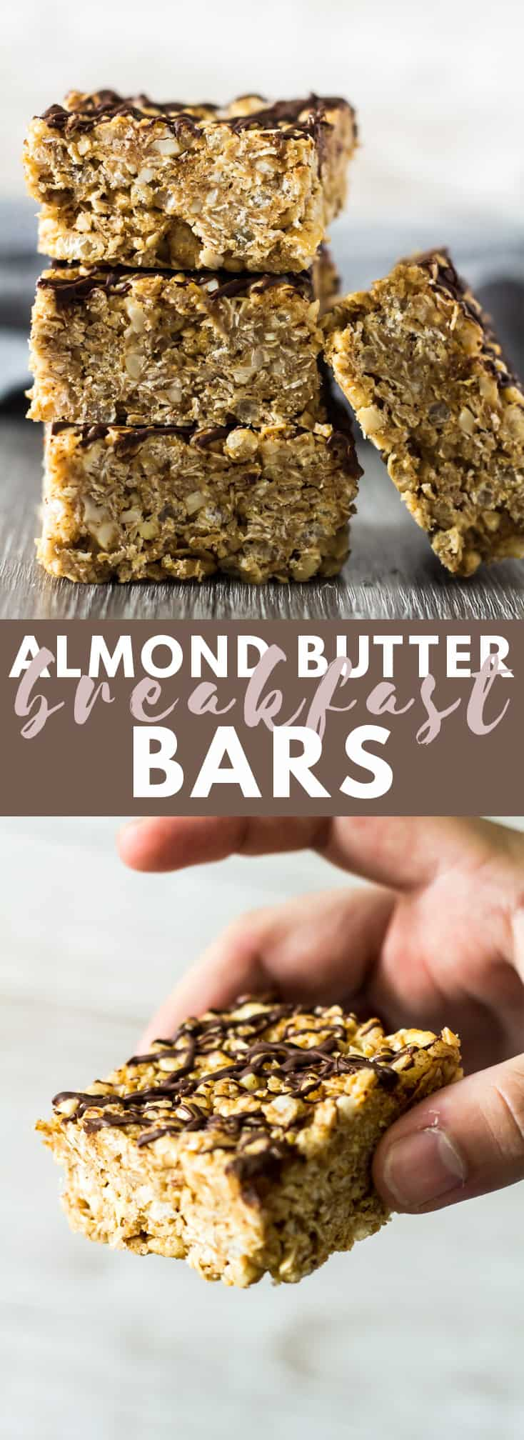 No-Bake Almond Butter Breakfast Bars - Deliciously thick and chewy no-bake granola bars that are loaded with almond butter flavour, and drizzled with dark chocolate! #nobake #almondbutter #granolabars #breakfast #recipe