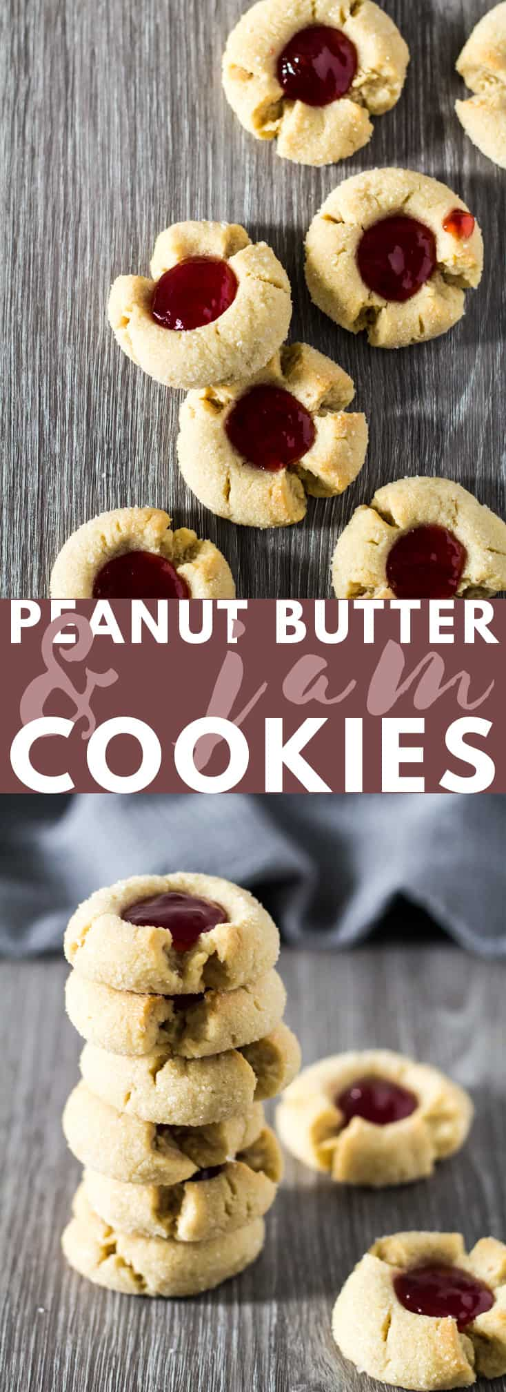 Peanut Butter & Jam Thumbprint Cookies - Deliciously soft and crispy thumbprint cookies loaded with peanut butter and filled with raspberry jam. The perfect cookies for PB&J lovers! #peanutbutter #cookies #recipe