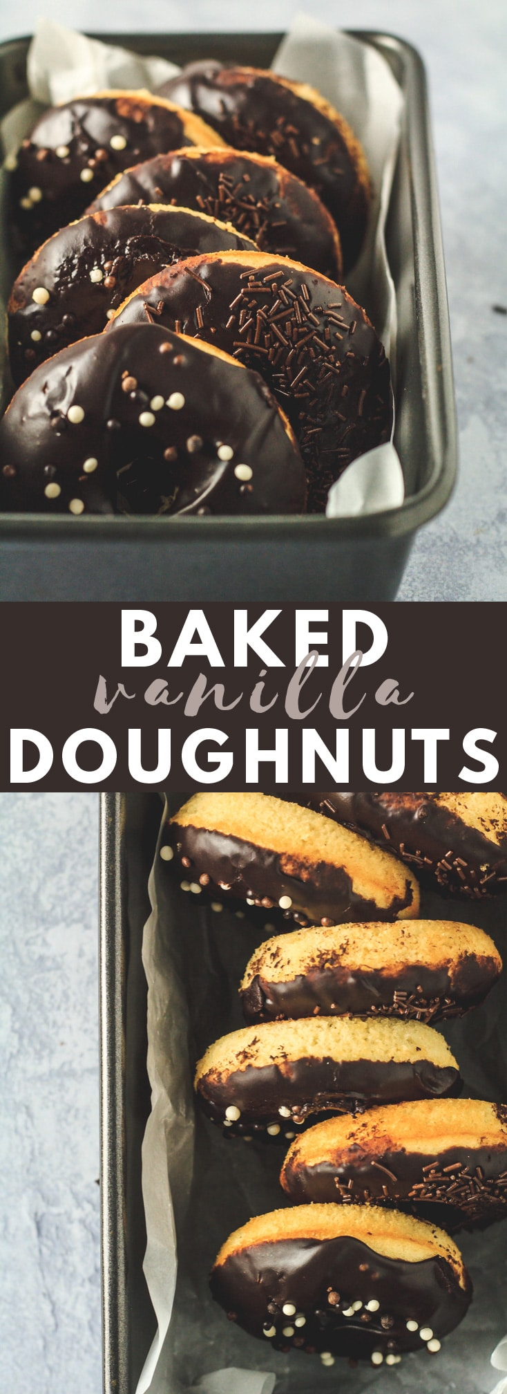Baked Vanilla Doughnuts - Deliciously moist and fluffy doughnuts that are BAKED, not fried, infused with vanilla, and topped with a thick chocolate glaze!