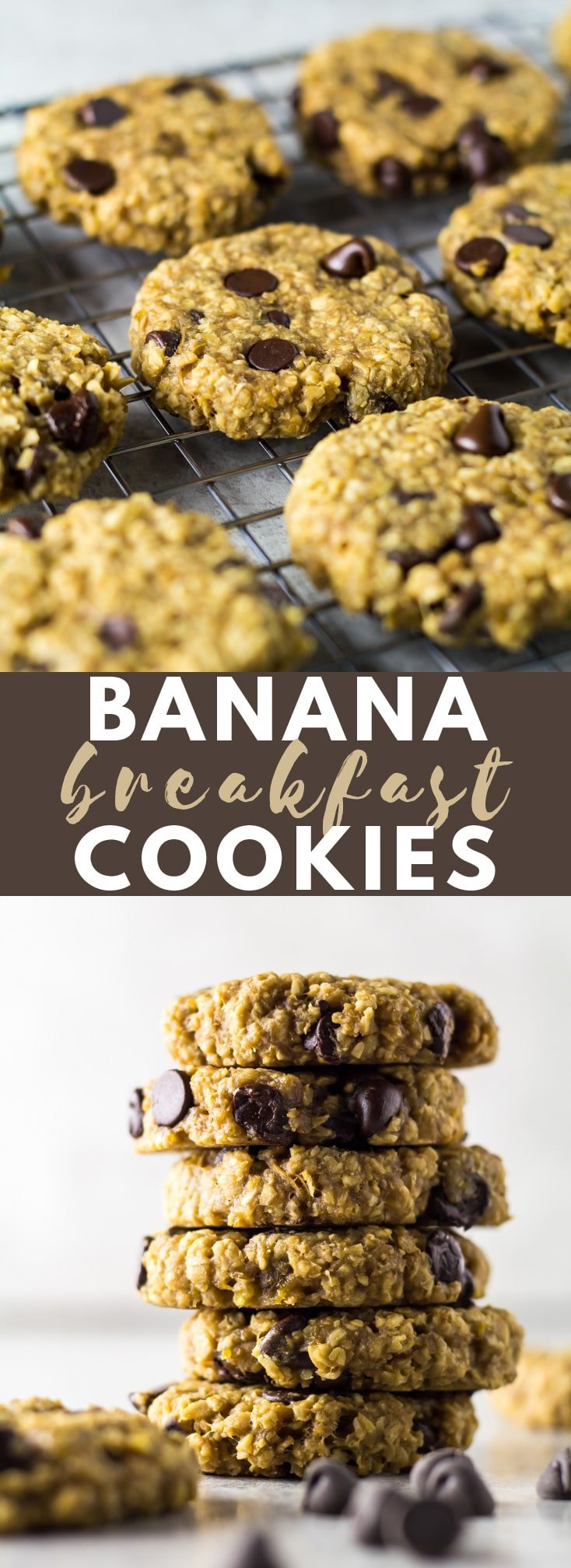 Banana Breakfast Cookies - Deliciously soft, chewy, and healthy banana cookies that are loaded with oats, peanut butter, and chocolate chips. Perfect for a sweet breakfast or a quick snack!
