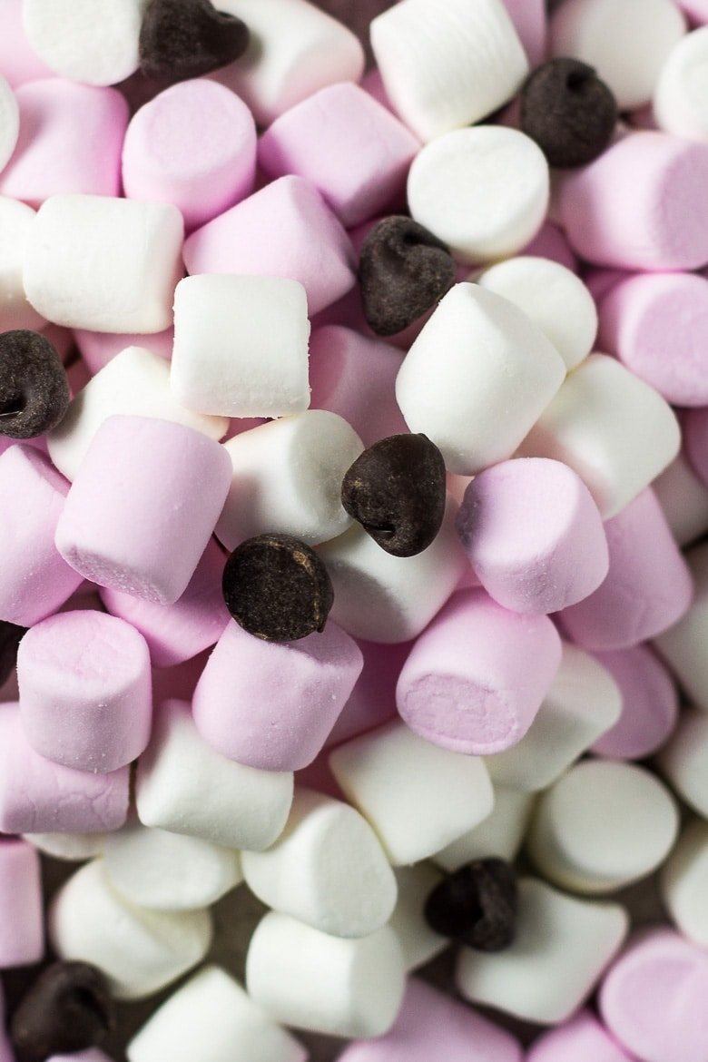 Mini marshmallows and chocolate chips for Chocolate Chip S'mores Cookies