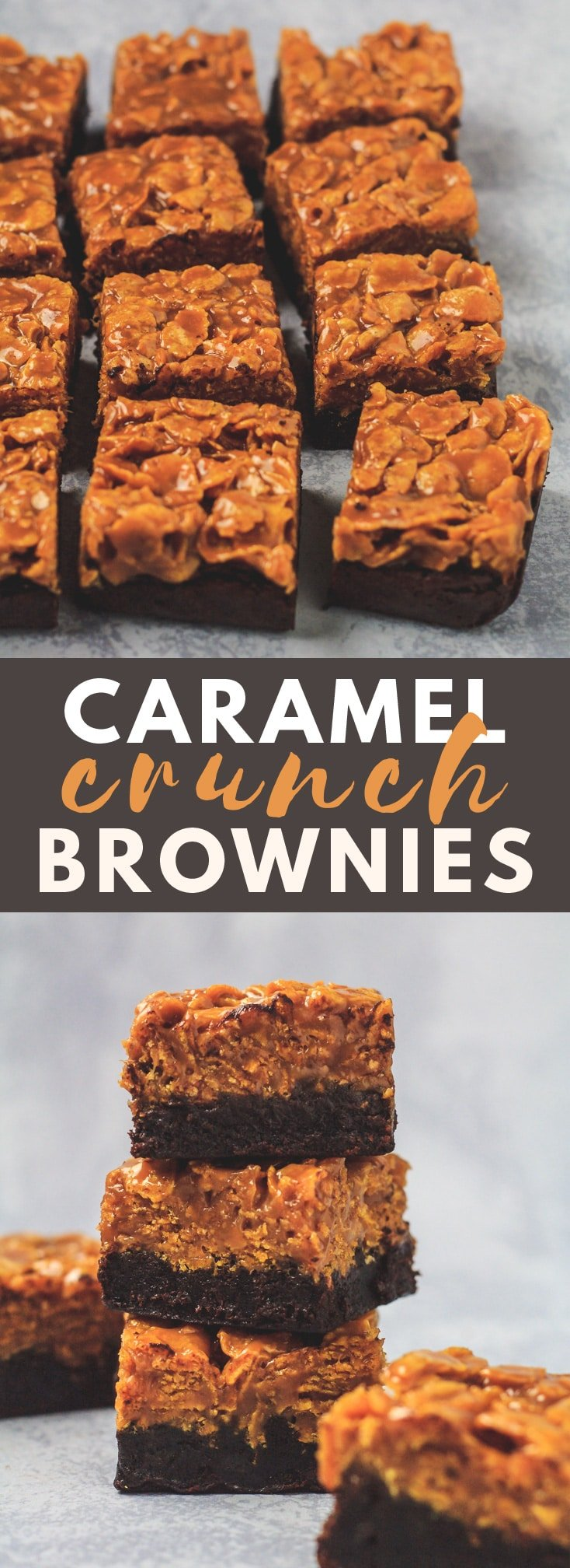 Caramel Crunch Brownies - Deliciously thick and fudgy brownies that are topped with a generous layer of caramel loaded with Cornflakes. The ultimate crunchy brownies!