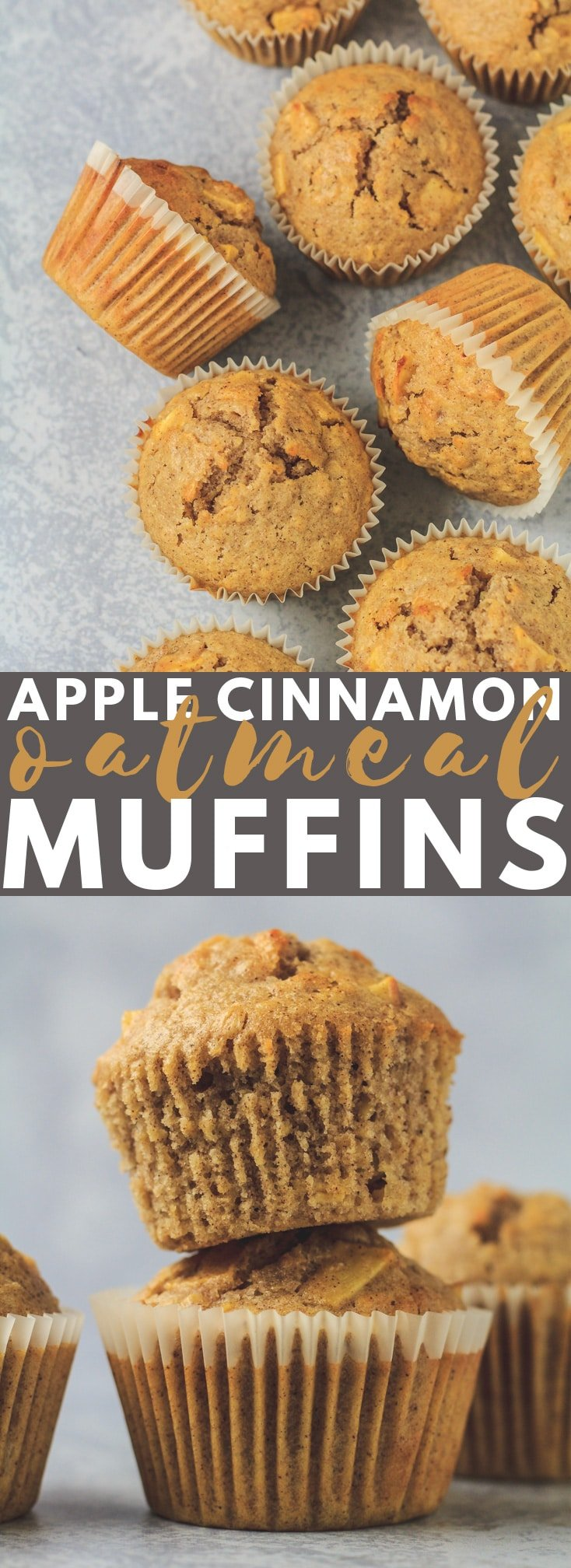 Apple Cinnamon Oatmeal Muffins - Deliciously moist and fluffy cinnamon-spiced muffins that are loaded with oats and apple chunks. Perfect for an indulgent breakfast or snack!