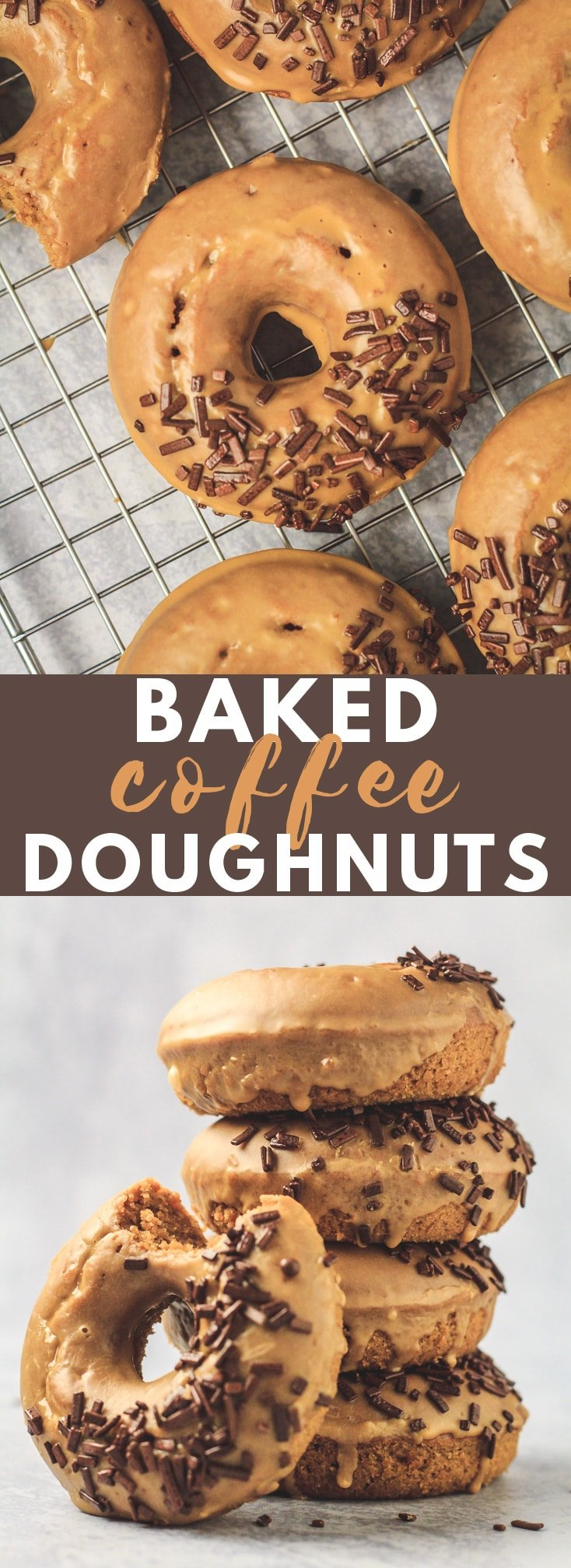 Baked Coffee Doughnuts - Deliciously moist and fluffy baked doughnuts that are infused with coffee, and topped with a sweet coffee glaze. The BEST doughnuts for coffee lovers! #coffee #doughnuts #donuts #recipe