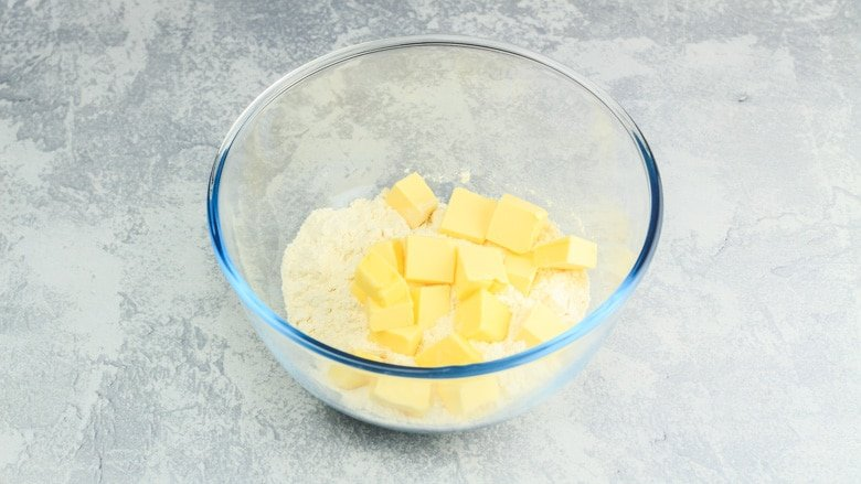 Flour and butter in mixing bowl for crumble topping