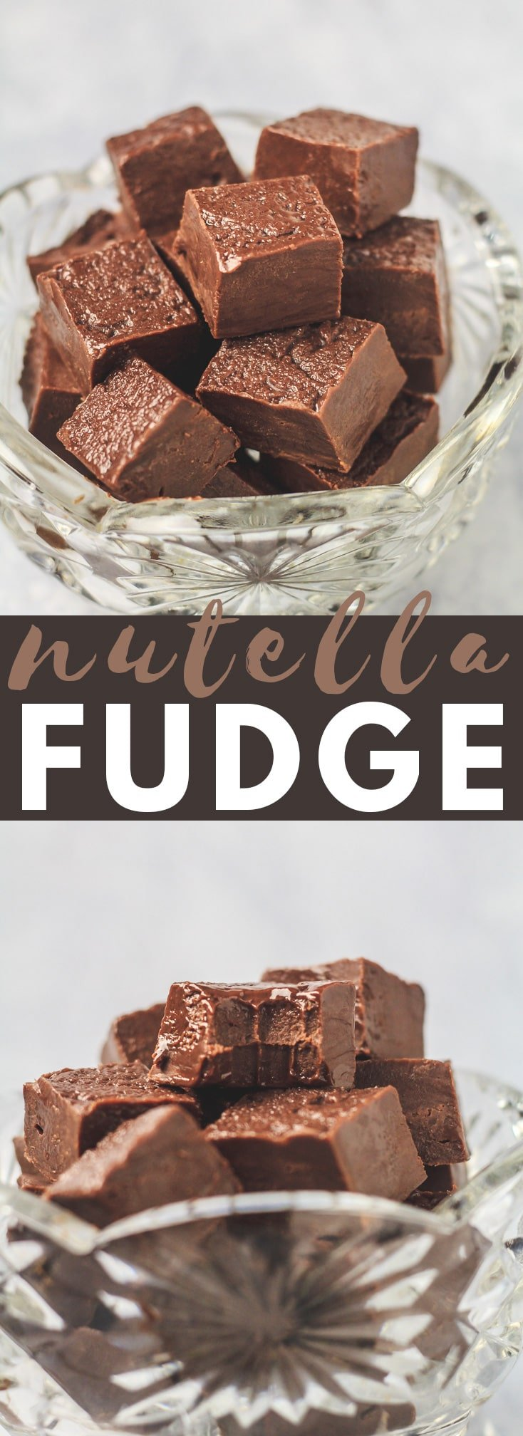 Nutella Fudge - Deliciously rich and creamy chocolate fudge that is LOADED with Nutella flavour. Made in the microwave, and only requires 4 simple ingredients! #chocolate #nutella #fudge #nobake