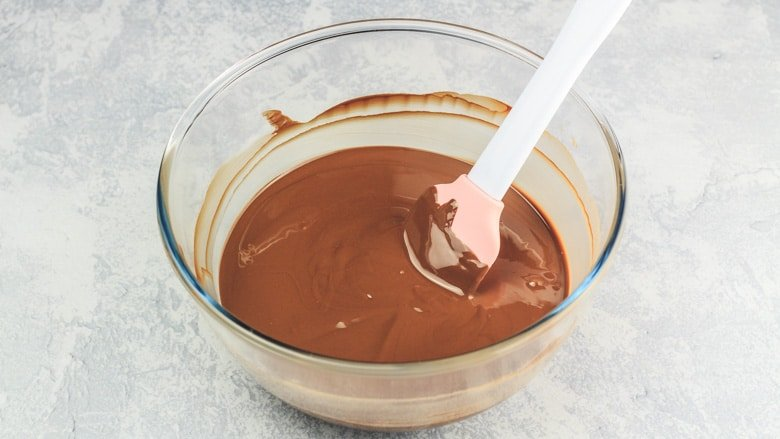 Nutella and chocolate melted together in mixing bowl