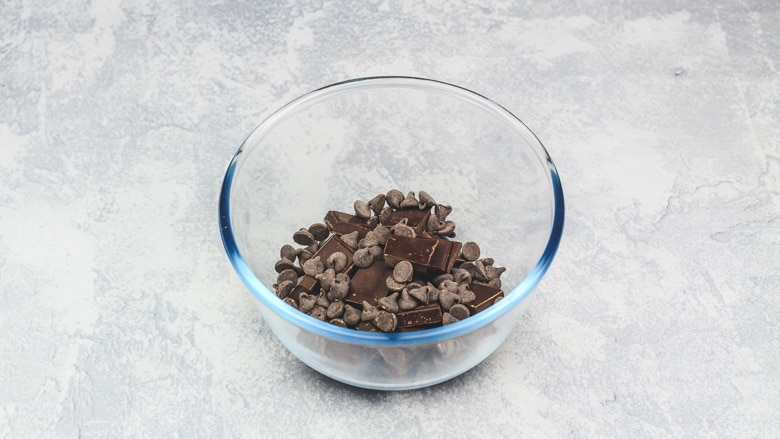 Chocolate in bowl ready to be melted for hot chocolate.