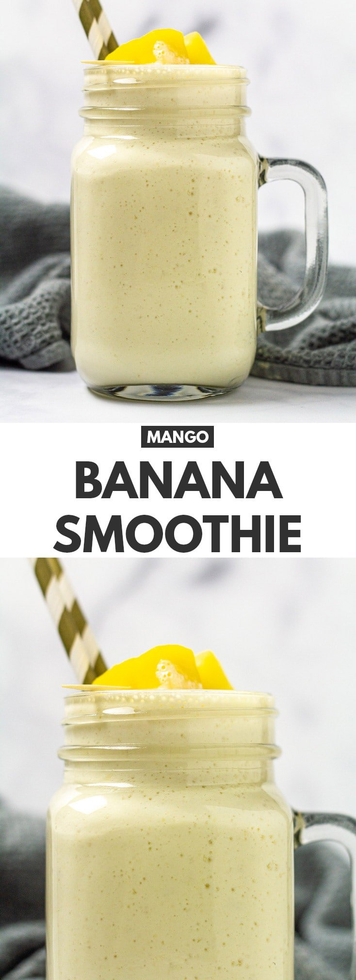 Mango Banana Smoothie - A deliciously thick and creamy banana smoothie that is also bursting with mango flavour. Makes for a quick healthy breakfast, and only requires 5 simple ingredients!