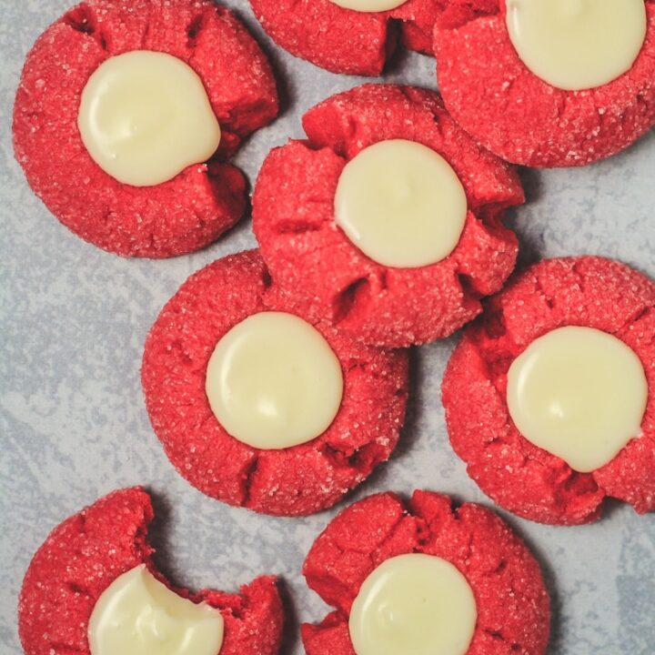 Red Velvet Thumbprint Cookies