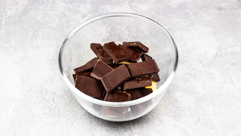 Chocolate and butter in a bowl ready to be melted.