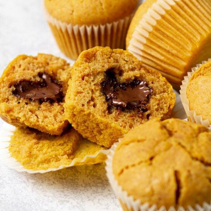 Nutella Stuffed Pumpkin Muffins
